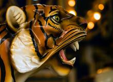 Close-up Of Tiger Sculpture At Night