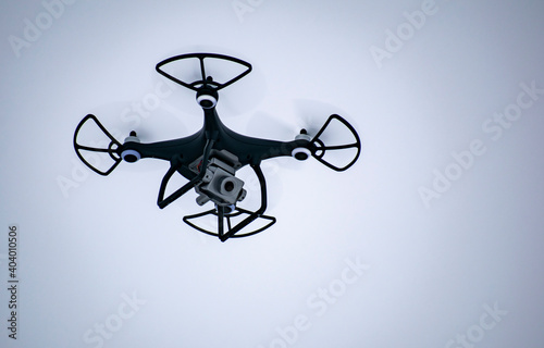 Papel de parede Aerial photography with a flying drone with a camera in winter.