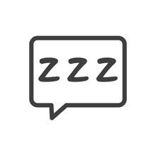Tiempo De Dormir. Logotipo Con Letras Zzz En Burbuja De Habla En Color Gris