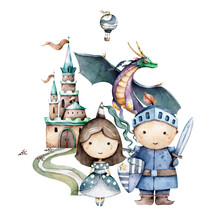 The Little Knight And Cute Princess Around Castle, Flying Green Dragon. Kid Set Adventure Hand Drawn Watercolor Isolated Nursery Kid Cartoon Illustration On White Background