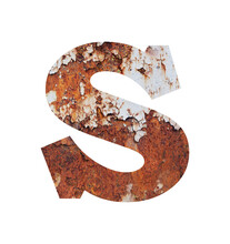 Close-up Of Rusty Letter S Against White Background