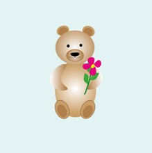 Bear In Kawaii Style With Flower, Isolated On A Delicate Blue Background, Concept Of Valentine Day