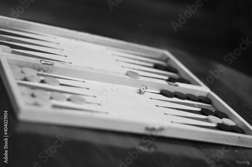 Close-up Of Backgammon On Table Fototapete