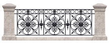 Wrought Iron Railing. Vintage. 3D Render For Project. Isolated. White Background.
