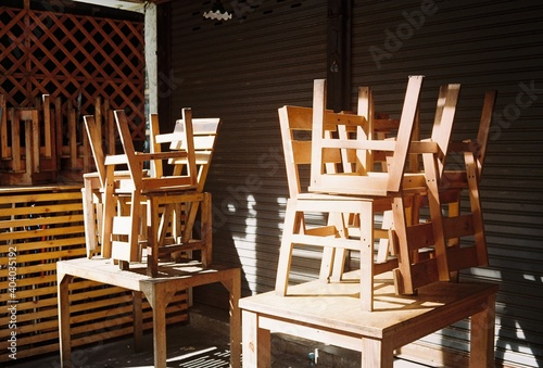Obraz Chairs Stacked On Tables - fototapety do salonu