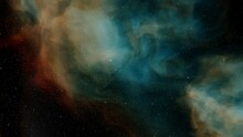 Nebula Gas Cloud In Deep Outer Space, Science Fiction Illustrarion, Colorful Space Background With Stars 3d Render