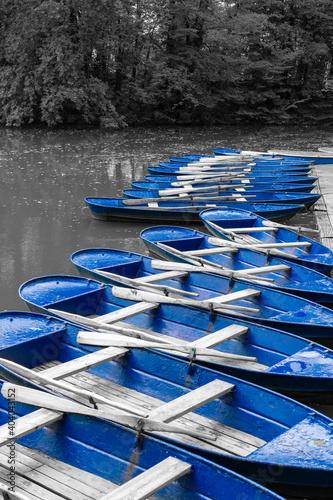 Obraz na plátně Blue rowing boat