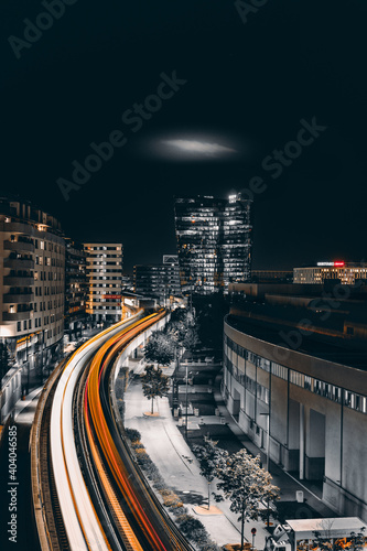 High Angle View Of Light Trails On Road In City At Night Fototapeta