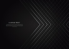 Abstract Black Background With Silver Striped Lines Overlapping  With Copy Space For Text. Luxury Style.