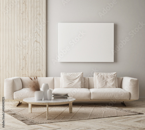 Fototapeta mock up poster frame in modern interior background, living room, Scandinavian style, 3D render, 3D illustration obraz