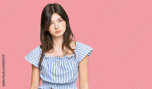 Obraz na plátně Young beautiful caucasian girl wearing casual clothes skeptic and nervous, frowning upset because of problem