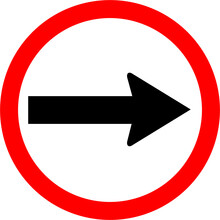 Round Traffic Sign, Turn Right. Allow Traffic Right Or Go Right Side Only.