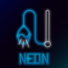 Glowing Neon Line Pet Cat Toy Icon Isolated On Black Background. Colorful Outline Concept. Vector.