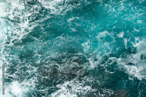Adriatic Sea foam and waves aerial overhead Fototapet