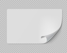 Square Sticker. Curled Page Rectangular Flipped Paper Page, White Information Banner, Empty Promotional Emblem Mockup, Advertise Realistic Blank Vector Isolated On Transparent Background Illustration