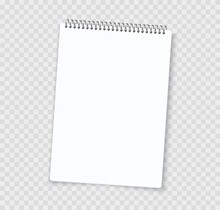 Blank Notebook Sheets. Realistic Notepad With Binder. 3D White Paper Page And Perforated Edge. Isolated Empty Copybook For Writing On Transparent Background. Vector Stationery Template With Copy Space