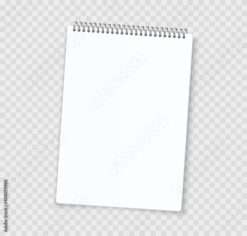 Obraz Blank notebook sheets. Realistic notepad with binder. 3D white paper page and perforated edge. Isolated empty copybook for writing on transparent background. Vector stationery template with copy space - fototapety do salonu