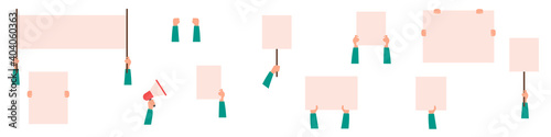 Fototapeta Set of blank banners for protests isolated on white background