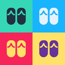 Pop Art Flip Flops Icon Isolated On Color Background. Beach Slippers Sign. Vector.