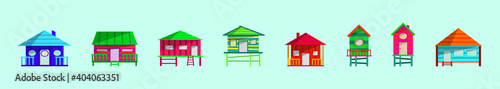 set of shack cartoon icon design template with various models Fototapet