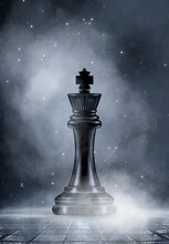 Chess King, Figure, Close-up. Abstract Dark Street Background, Smoke, Smog. Night View. 3D Illustration.