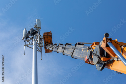Fotografie, Obraz Crane with telescopic boom lift used as an aerial working platform