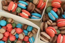 Colorful Makarons. Pastel Colors. Background