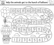Birthday Black And White Board Game For Children With Cute Animals In Hot Air Balloon. Educational Outline Holiday Boardgame With Clouds, Rainbows And Balloons. Party Line Activity For Kids..