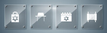 Set Torah Scroll, Jewish Calendar, Orthodox Jewish Hat And Shopping Bag With Star Of David. Square Glass Panels. Vector.