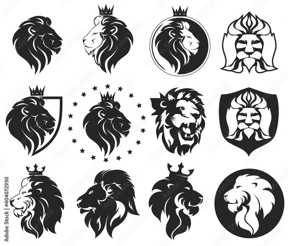Fototapeta Lion head with crown set, royal cat. Golden luxury emblem. Vector