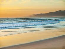 Moodful Sunset On The Beach Of Tarifa, Andalusia, Spain