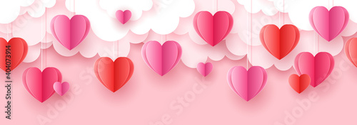 Valentine's day seamless background for social media advertising, invitation or poster design with paper art cut heart shapes and clouds. Vector illustration