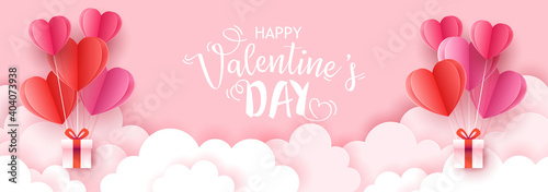 Valentine's day holiday sale banner template for social media advertising, invitation or poster design with paper art cut heart shapes.
