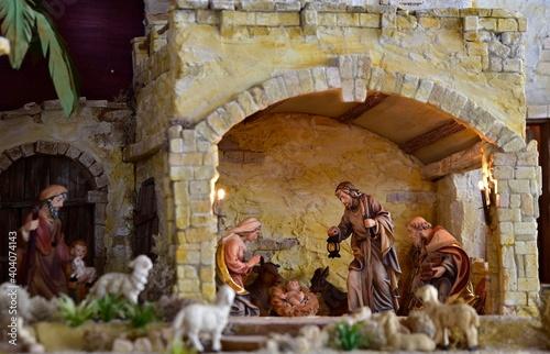 Fotografie, Tablou Weihnachtskrippe orientalisch, Krippe, Weihnachten, heilige Familie, heilige dre