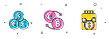 Set Currency Exchange, Cryptocurrency And Glass Money Jar With Coin Icon. Vector.