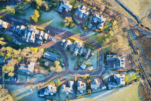Luxury countryside rural village aerial view from above in St Andrews Scotland U Wallpaper Mural