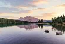 Two Jack Lake At Sunset, Banff National Park, Canada. Sunset And Reflection