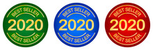 Best Seller 2020 Stamp. Set Of Round Logo. Label Or Seal. Product Quality. Bestseller Cachet. Round Print. Top Seller. Dark Red, Blue, Green And Gold.