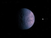 Purple Planet With A Solid Surface And Asteroid In Deep Space, Beautiful Abstract Background, Cosmic Landscape.