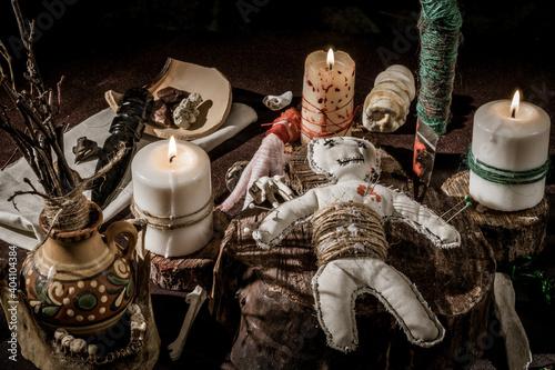Obraz na plátně Thematic still life: Voodoo magic