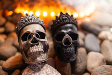 Wedding Rings On Skulls On Halloween