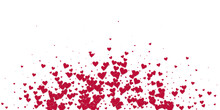 Red Heart Love Confettis. Valentine's Day Explosion Tempting Background. Falling Stitched Paper Hearts Confetti On White Background. Divine Vector Illustration.