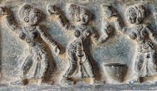 Hampi, Karnataka, India - November 5, 2013: Zanana Enclosure. Fresco On Black Marble Of Dancing Women Around Pot.