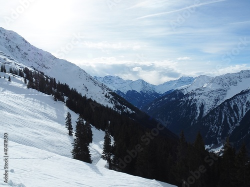 Scenic View Of Snowcapped Mountains Against Sky #404118510