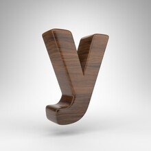 Letter Y Lowercase On White Background. Dark Oak 3D Rendered Font With Brown Wood Texture.