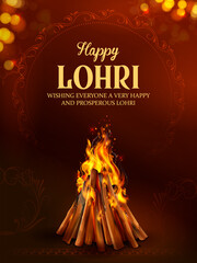 Fototapeta Fitness / Siłownia illustration of Happy Lohri holiday background for Punjabi festival