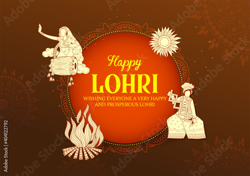 Obraz illustration of Happy Lohri holiday background for Punjabi festival - fototapety do salonu