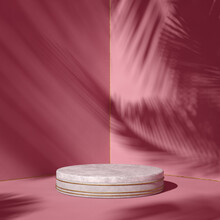 Product Placement Mockup, 3d Background With Stone Podium, Marble Pedestal, Fashion Industry, Object Display, Cosmetic Showcase. 3d Rendering