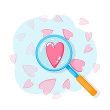 Search Heart And Find Love With Magnifying Glass With Heart Inside. Dating Illustration Of Dating Application Or Site On Mobile Phone. Social Network