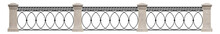 Wrought Iron Railing. Meander. Vintage. 3D Render For Project. Isolated. White Background.